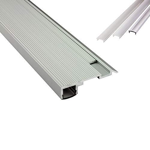 B-WARE - T-STA LED Alu Treppenprofil Treppenwinkel Profil Stufen silber + Abdeckung Abschlussleiste Fliesen für LED-Streifen-Strip 2m milky