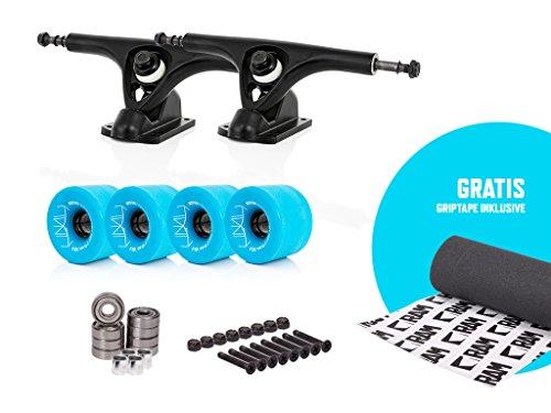 "RAM UB-Truck 7\""   180 mm Longboard Achsen Set Setup inkl. gratis Griptape (schwarz / blau)"