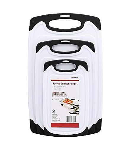 Set de 3 Planches à Découper Antidérapante en Plastique, Résiste au Lave-Vaisselle