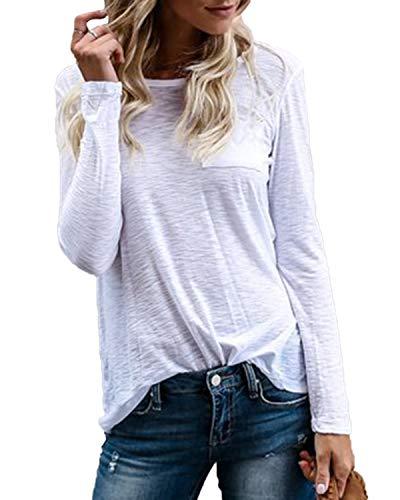 YOINS Pulli Damen Langarmshirt Sweatshirt mit Streifen Rundhals Ausschnitt Oversize Hemd Jumper Bluse Tops (EU44, Weiß-01)