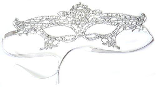PRESKIN - Spitzenmaske für Karneval, venizianische Verführung aus Spitze für Fasching, silberne Maske für Verkleidung und Party