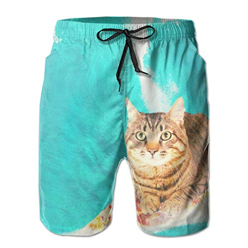 Jeroty Mens Beach Shorts Kitty Cat Surfing Pizza Swim Trunks Summer Casual Boardshort Pants Quick Dry Kitty Cat Pant