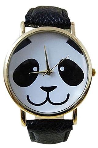 Montre-bracelet de motif de panda - TOOGOO(R)Montre-bracelet de modele de panda pour femme noir