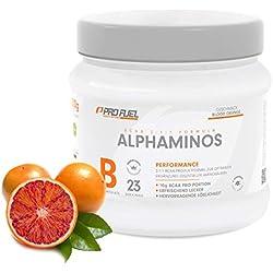 ALPHAMINOS | BCAA 2:1:1 | Das ORIGINAL von ProFuel | Essentielle Aminosäuren | Unfassbar leckerer Geschmack | 300g - BLOOD ORANGE (Blutorange)
