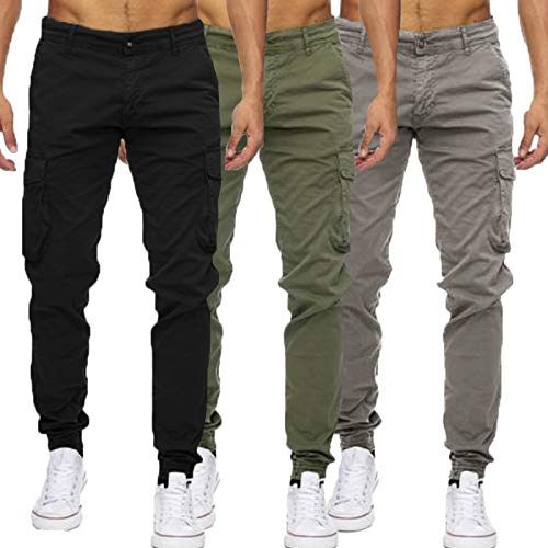 INCERUN Men's Retro Casual Cargo Trousers Cotton Combat Pants with 4 Pockets