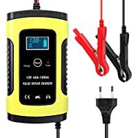 12V 6A Full Automatic Car Battery Charger Intelligent Fast Power Charging Pulse Repair Chargers Wet Dry Lead Acid Battery-chargers with Digital LCD Display