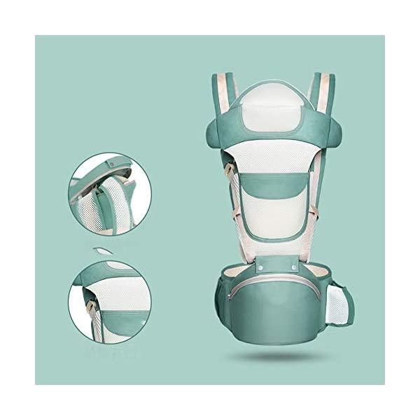 Baby Carrier Hip Seat 6 in 1 Baby Carrier Backpack 0-36 Months, Convertible Baby Carrier (Color : Green) JIE KE 【Easy to Use】Simple and safe design helps you quickly put on and take off to carry your baby for short periods of time. It is very easy and simple to place or pick up your baby with belt buckle design. Buckles are noiseless and super strong, it's quick and easy to unbuckle the entire baby carrier and lay your sleeping baby down. 【100% Cotton】All our baby carriers are made of high quality fabric and free from harmful substances. The fabric is breathable, skin-friendly and soft, it is made of 100% premium natural cotton to to keep baby's soft skin safe and comfort baby wearing in four seasons. Adequate safety tests ensure the soft fabrics gently hug your baby's back, legs and hips, and provide good support. 【Waist Belt & Shoulder Straps】Upgraded wide waist belt and shoulder straps padded with soft material eases pressure on the back and shoulder, releasesing burden in a large extent when you carry your baby. Luxuriously thick and soft padding in the shoulder straps give you superior carrying comfort and prevent straps from slipping off. Adjustable shoulder straps are suitable for moms and dads of all shapes and sizes. You won't feel tired while carrying baby for a long time. 2