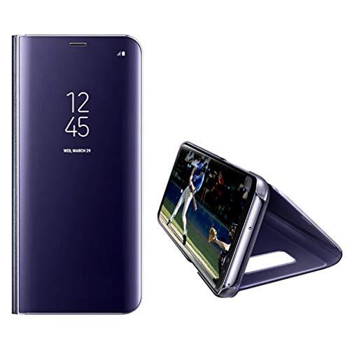 Anyos Galaxy S8 Hülle, Clear View Standspiegel Flip PC Cover für Samsung Galaxy S8, S8, violett, blau
