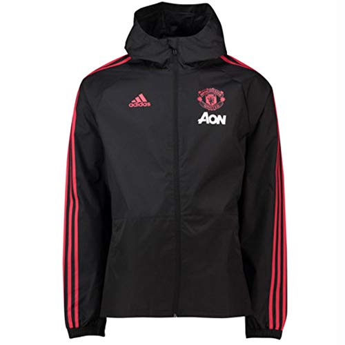 Adidas Manchester United FC Rain Chaqueta, Hombre, Black/Blaze Red/Core Pink, Medium