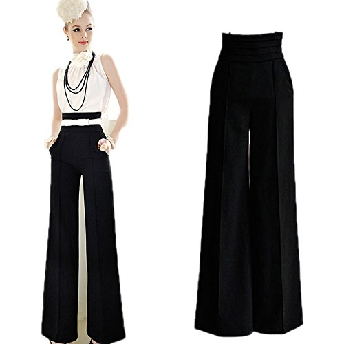 Pantalones de moda de cintura alta y pierna ancha para mujer para trabajo, fiestas o casamiento,...