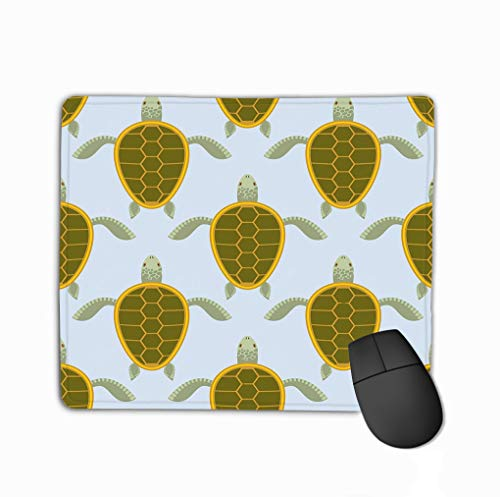 Gaming Mouse Pad Oblong Shaped Mouse Mat 11.81 X 9.84 Inch Flock sea Turtles Water Turtle Back Background Aquatic Reptile Shell Lifelike -