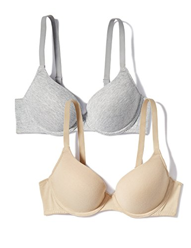 Iris & Lilly BLI-CT-001 bh, Mehrfarbig (Grey Marl/Nude), 85A (Herstellergröße: 38A), 2er Pack