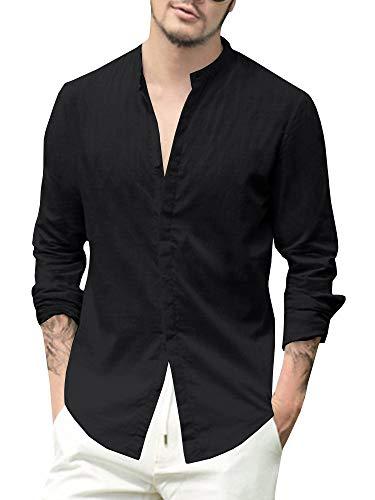 Herren Hemd Leinenhemd Langarm Freizeithemd Casual Regular Fit Oberteile Henley Sommerhemd Shirts(bk,m) -