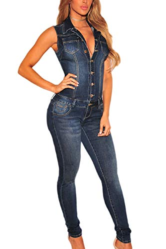 Yulinge Damen Overalls Rompers Knopf Kragen Ärmellose Jeans - Overall blau M