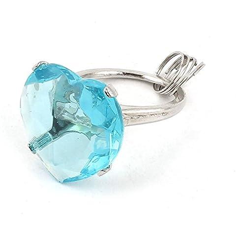 Azul claro imitación de cristal acento plástico del corazón en forma de anillo Diseño Llavero