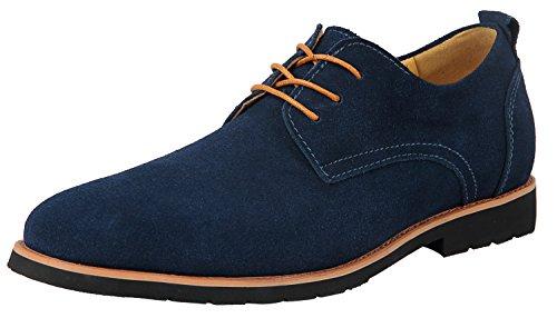 Wildleder Schuhe (Schnürhalbschuhe Herren Blau Derby Oxford-Schuhe Komfort Wildleder Klassiker Oxfords 43 EU - US 10)