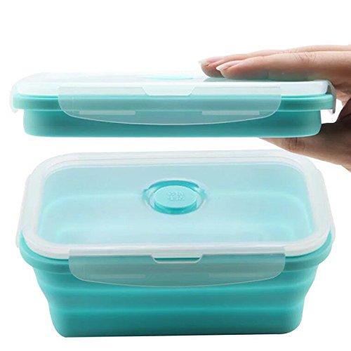 Silicona plegable apilable recipientes de almacenamiento de alimentos caja de almuerzo contenedores de alimentos. Se puede utilizar en el horno de microondas.