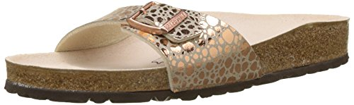 BIRKENSTOCK Unisex Madrid Birko-flor Pantoletten Narrow Fit , Braun (Metallic Stones Copper Metallic Stones Copper) , 39 (Schmal)