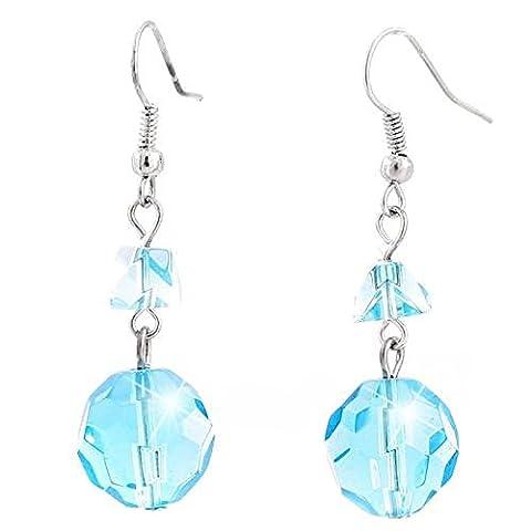 Bague turquoise–Boucles d'Oreilles Pendantes Femme–Boucles d'oreille Set 2stk Pierre Précieuse Schliff 1cm de diamètre pour femme Earring Set Light Blue 5321