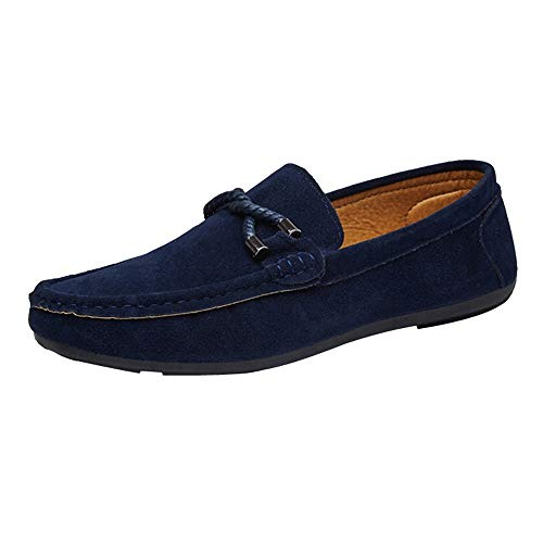Dorical Wildleder Schuhe Herren Erbsenschuhe Bootsschuhe Faule Schuhe,Arbeitsschuhe ,Freizeit Flache Loafers,Fahren Sandalen Pantoffeln,Leichte Schuhe,Bequeme Schuhe Für Männer(Blau,43 EU)