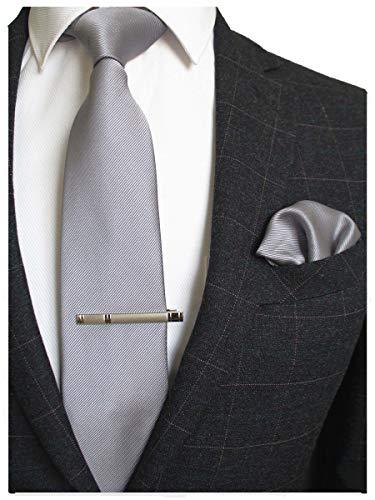 0f091c1d3 JEMYGINS Cravate gris Homme en Soie et Pinces à cravate Carre de poche  Set(6)