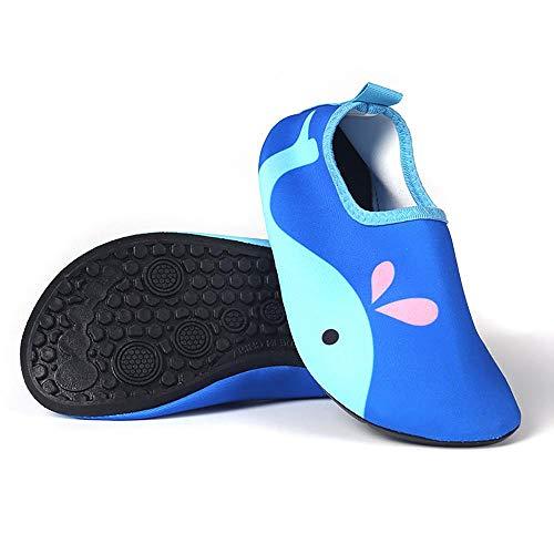 Aisoway Leichte Kinderschwimmschuhe Quick Dry Beachside Socken Karikatur druckte Wal-Muster - Leder Pull Auf Den Fersen