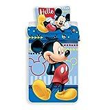 JF Disney Mickey Mouse - Biancheria da Letto, Reversibile, 140 x 200 cm, Cuscino 70 x 90 cm, 100% Cotone, Colore: Blu