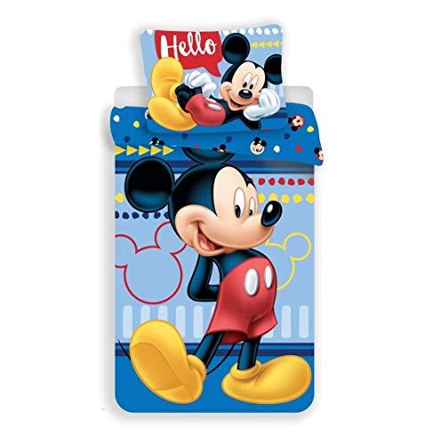 JF Disney Mickey Mouse - Juego de Cama (Funda de edredón de 140 x 200 cm, Funda de Almohada de 70 x 90 cm, 100% algodón), diseño de Mickey Mouse