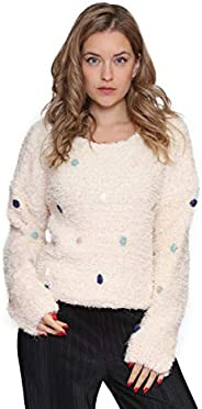 Aarzoo Damen Soft Touch Pullover mit Pompom-Detail