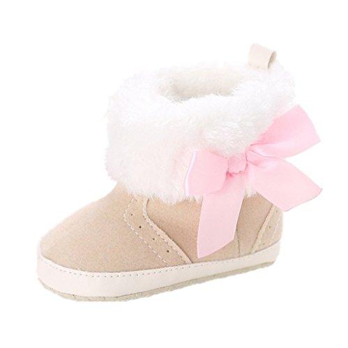Baby Schuhe Auxma Baby Mädchen Weiche Sohle Schneeschuhe Weiche Krippe Schuhe Kleinkind Stiefel für 0-18 Monate (12cm/6-12 Monate, Beige) (Wohnungen, Bow Kleidung Schuhe)