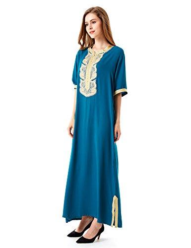 vetement femme musulmane robe islamique Caftan brodé jilbab jalabiya rayonne maxi dress longue 1604 Vert