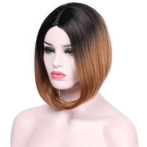 ARYON Kurze Blonde Gerade Synthetische Perücken für Frauen Cosplay Perücken 13 Farben Haar Schulterlänge, D