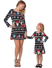 e0a920169c8f Vestiti Mamma e Figlia Uguali Natale Retro Mini Swing Abito Autunno Inverno  Donna Bambina Vestito Svasato