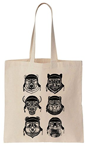 Funny Hipster Animals With Hats And Glasses Cotton Canvas Tote Bag Baumwollsegeltuch-Einkaufstasche (Tote Bag Canvas Tiger)