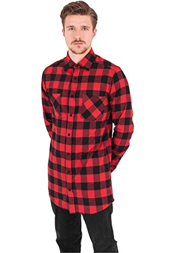 Urban Classics Herren Freizeithemd Long Checked Flanell Shirt, Mehrfarbig (Blk/Red 00044), XX-Large (Flanell Hemd Karo)