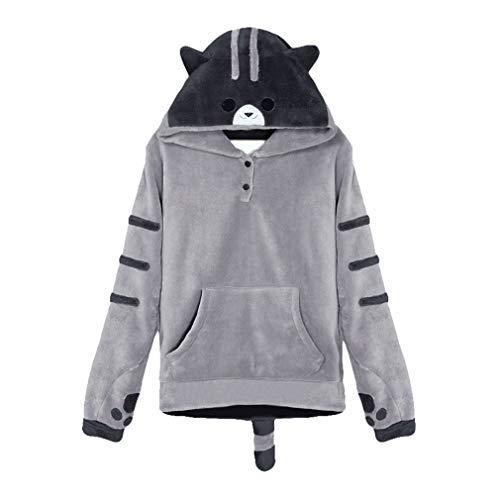 Frauen Niedlichen Cartoon Katze Fleece Hoodie Schöne Cosplay Kostüm Pullover Sweatshirt Mit Schwanz Top Bluse Trainingsanzüge Dunkelgrau ()