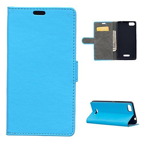 Banath Handy Hülle für Wiko Fever Special Edition PU Leder Flip Wallet Cover Stand Case Card Slot Leder Karteneinschub Magnetverschluß Kratzfestes (Blau)