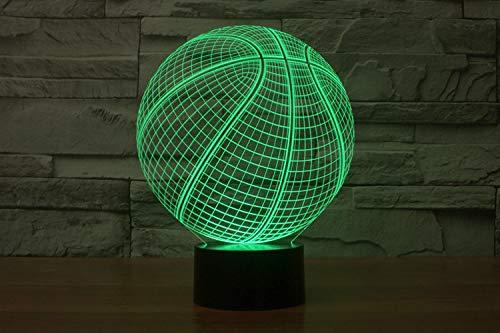 Lxxyd luce visiva 3d illusione ottica led luce notturna - uled luce notturna 7 colori night light sensore tattile lampada da tavolo atmosferica letto illusione proiettore squadra di basket