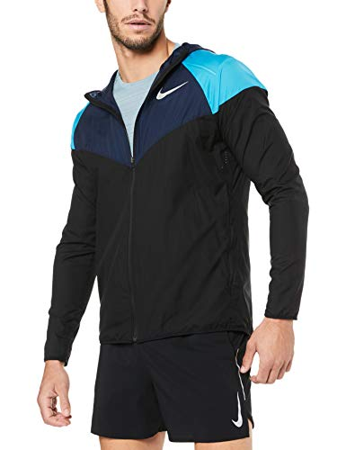 Nike Herren M NK Windrunner Jacket, Black/Obsidian/Reflectiv, L