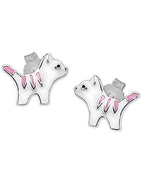 CLEVER SCHMUCK Silberne Ohrstecker kleine Mini Katze 6 mm rosa weiß schwarz lackiert glänzend STERLING SILBER...