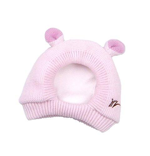 Baby – Mädchen & Jungen Mütze Strick-Schalmütze mit Ohren Deko, 2 Farbe