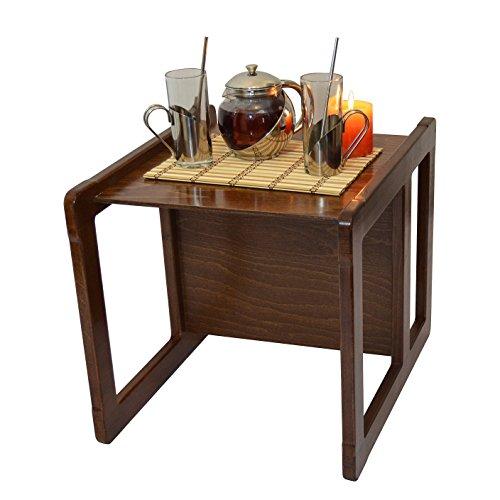 Obique 3 en 1 Une Grande Table Café Multifonctionnelle pour Adultes ou Une Table ou Chaise pour Enfants en Bois de Hêtre, Vernis Foncé