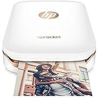 HP Sprocket-Impresora fotográfica portátil (impresión sin tinta, Bluetooth, 5x 7.6cm impresiones), color blanco y dorado