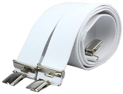 X Hosenträger mit 4 extra starken Clips 3,5cm breit für Damen und Herren in weiß - Style 15