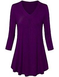 3348e9a296 SEWORLD 2018 Damen Mode Sommer Herbst Beiläufige Schal Übergröße Solide  V-Ausschnitt Langarm Plissee T