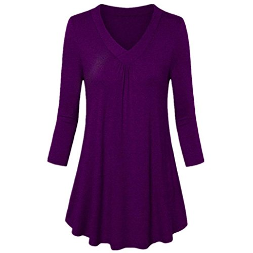 SEWORLD 2018 Damen Mode Sommer Herbst Beiläufige Schal Übergröße Solide V-Ausschnitt Langarm Plissee T-Shirt Tops Bluse(Violett,EU-52/CN-5XL)