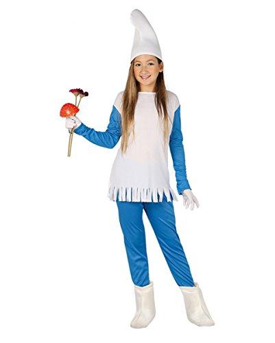 Blaues Wichtel Kostüm für Mädchen   M-XL L (Kleines Mädchen Gnome Kostüm)