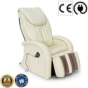 KARMA Fauteuil de massage 2D - Blanc (nouveau modèle 2019) - Fauteuil relax avec 5 programmes massage Shiatsu - Système massage des jambes et vibration - Garantie Officielle 2 ANS GLOBAL RELAX® France