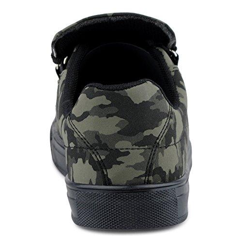 FiveSix Herren Sneaker Sportschuhe Schnürschuhe Muster Freizeitschuhe Low Top Schuhe Grün/Camouflage