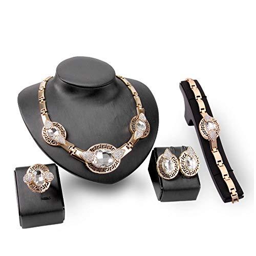 YOLANDE Schmucksets für Frauen Elegantes vergoldetes Element für Bräute Brautjungfer Kostüm Halskette Armband Ring Ohrring,Weiß (Element Wasser Kostüm)